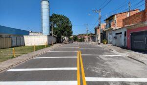 Pintura para redução velocidade nas ruas de Mogi das Cruzes