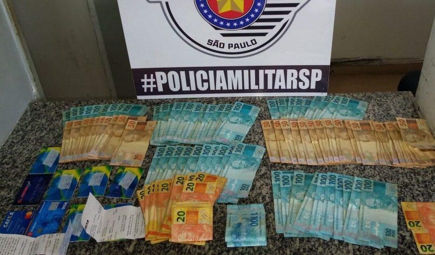 Dinheiro apreendido pela PM SP em Mogi das Cruzes
