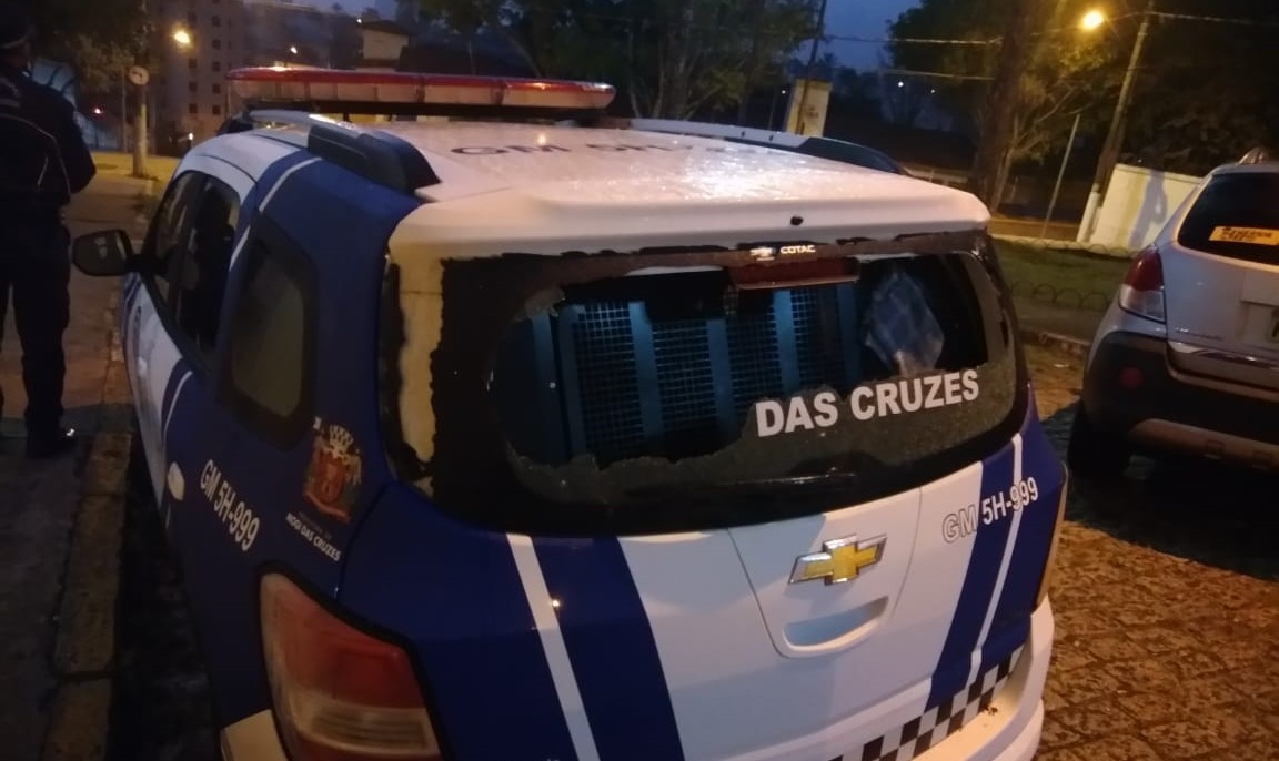 Guarda Municipal de Mogi das Cruzes - Viatura depredada